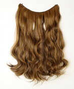 "20"" Curly Wavy Secret String Wire in Hair Extensions Natural Hidden Hairpieces Long 3/4 Full head - Dark brown & coffee brown"