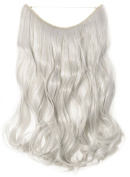 "20"" Curly Wavy Secret String Wire in Hair Extensions Natural Hidden Hairpieces Long 3/4 Full head - Silver grey"