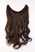 """20"""" Curly Wavy Secret String Wire in Hair Extensions Natural Hidden Hairpieces Long 3/4 Full head - Medium brown"""