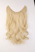 "20"" Curly Wavy Secret String Wire in Hair Extensions Natural Hidden Hairpieces Long 3/4 Full head - Bleach blonde"