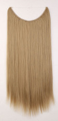 "20"" Straight Secret String Wire in Hair Extensions Natural Hidden Hairpieces Long 3/4 Full head - Ash blonde"
