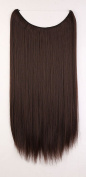 "20"" Straight Secret String Wire in Hair Extensions Natural Hidden Hairpieces Long 3/4 Full head - Medium brown"