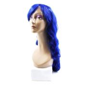 sourcingmap® 80cm Length Synthetic Brazilian Women Long Curly Hair Extension Bangs Wig Blue