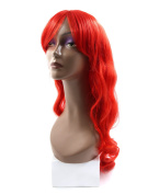 sourcingmap® 80cm Length Synthetic Brazilian Women Long Curly Hair Extension Bangs Wig Red