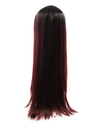 sourcingmap® 70cm Length Synthetic Women Long Loose Straight Hair Extension Wigs Black Red