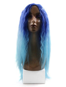 sourcingmap® 60cm Length Blue Synthetic Brazilian Loose Wavy Hair Extension Wigs for Women