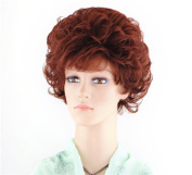 Short Curly Wigs for Women 25cm Ocher Red Fluffy Full Head Hair Extension for Cosplay Party or Daily Life Wig + Free Wig Cap and Comb SXD0370