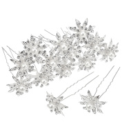 20 Pack Silver Rhinestone Crystal Pearl Flower Hair Pins Clips for Wedding Bridal Party Prom