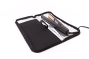 Mateque Heat Resistant Zip Pouch Heat Proof Mat All Black Ideal For Hair Straighteners Such as GHD Cloud Nine & Others