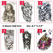 6 Sheets Temporary Tattoos for Body Makeup,Party Tattoos Stickers Half Arm Temporary Tattoos Jesus,Warrior Elephant, Dead Skull,etc.