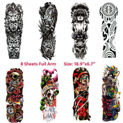 8 Sheets Temporary Tattoos for Body Makeup,Party Tattoos Stickers Full Arm Temporary Tattoos Character, Dead Skull,Cool Marking,etc.