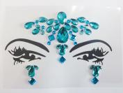 Glitter Joy Face Gems Temporary Tattoo - Jewel Diamante Bindi Fusion Headpiece - Body Jewellery Art