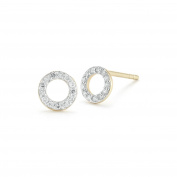 Mateo NYC Women's 14ct Yellow Gold Round White Diamonds Mini Circle Stud Earrings