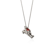 MOMOCREATURA Women's Oxidised Sterling Silver Hole in Heart Rabbit Necklace of Length 60cm