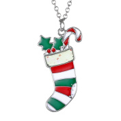 Christmas Tree Santa Claus Snowman Pendant Necklace Girls Party Jewellery