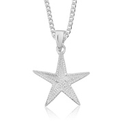 DTPSilver - 925 Sterling Silver Starfish Necklace Pendant On Adjustable 41cm - 46cm Curb Chain