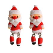 Pu Ran Women Cartoon Santa Claus Penguin 3D Cute Soft Studs Earrings Xmas Jewellery