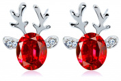 CHIC*MALL Women Christmas Earring Stud Crystal Gems Antlers Festive Earrings Jewellery