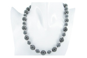 "18"" 50cm Round 8mm with 5mm Black Titanium Beads 2mm Silver Balls Necklace Present"