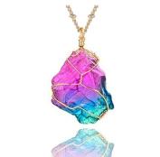 JDGEMSTONE Natural Irregular Crystal Gemstone Handmade Pendant Golden Wire Wrap bowknot Necklace