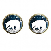 Polar Bear earring Christmas Jewellery Blue and White Snowflake Art earring