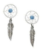 AG2AU Sterling Silver Dream Catcher Earrings with Reconstructed Turquoise Stone
