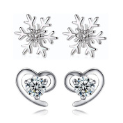 Hanie Women Earrings Snowflake and Love Heart Studs 925 Sterling Silver 2 Pairs Set Pierced Cluster White Round Cubic Zirconia Hypoallergenic for Children Girls Ladies