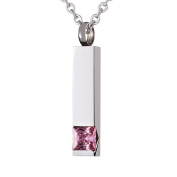 Beydodo Custom Ashes Neckalce Stainless Steel Square Bar Pink CZ Cremation Jewellery Memorial Necklace