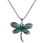 Yiwa Women Girls Retro Elegant Dragonfly Turquoise Studded Pendant Necklaces with Water Ripple Chain Christmas Gifts