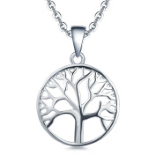 YL Tree of Life Necklace-925 Sterling Silver White Gold Plated Family Tree Pendant Jewellery for Women, 45-50cm