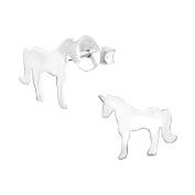 Unicorn Stud Earrings - 925 Sterling Silver - Size