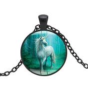 Unique Vintage Unicorn Glass Round Pendant Chain Necklace Unisex Jewellery Gift