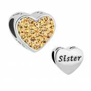 Sug Jasmin Colourful Heart Sister Charms Beads For Charms Bracelets