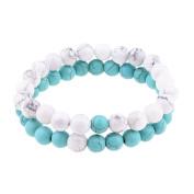Belons Couple Stretch Bracelet 8mm Blue & White Turquoise Energy Stones Beads Bracelets Distance Bracelet Set, 2PCs