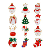 12Pcs Christmas Tree/Elk/Santa Claus/Snowman/Sock Style Brooch Pin Jewellery Xmas Gift