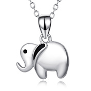 YFN 925 Sterling Silver Lucky Cute Elephant Pendant Necklace for Women Girls Kids,18 Rolo Chain