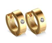 Jiedeng Jewellery Unisex Earring Set Stainless Steel Stud Earring with Cubic Zirconia CZ Hoop Earrings Set Gothic Punk Stud Earring for Men Women Blue Gold Black Silver