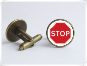 Stop sign jewellery Funny jewellery Car cufflinks Road sign cufflinks