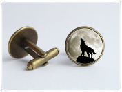 Howling wolf cufflinks Grey moon Animal jewellery Moon jewellery