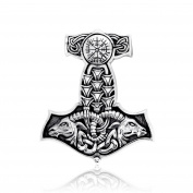 Sistrakno Sterling Silver 925 Celtic Vegvisir Goat Skull Totem Animal Viking Amulet Mjölnir Hammer of Thor Pendant