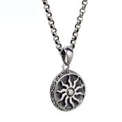HFJ & YIE & H Men's 925 silver necklace Korean retro sun pendant Thai silver pendant influx of women's men's jewellery