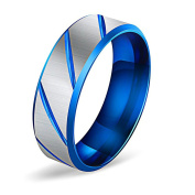 Purmy Mens Wedding Band Stainless Steel Ring Fashion Men's Ring Blue Unique Design 1PC Size L 1/2-V 1/2