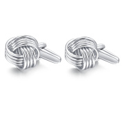 Hanana Knot Cufflinks for Men Shirt, Stainless Steel,Ideal for Father's Day Xmas Wedding Gift