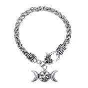Triple Moon Goddess Amulet Wicca Pentagram Wheat Chain Bracelet for Women Men Pagan Jewellery