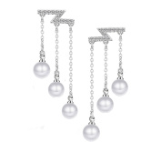 Aier Wish Ladies Basic Pearl Earrings 925 Sterling Silver Long Section Tassel Pearl Hypoallergenic Stud Earrings