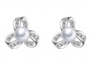 Aier Wish Ladies Basic Bead Clover Pearl Earrings 925 Sterling Silver Pearl & Zirconia Stud Earrings