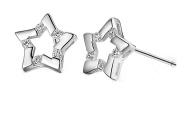 Aier Wish Ladies Basic Star Earrings 925 Sterling Silver with Cubic Zirconia CZ Hypoallergenic Stud Earrings