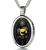 Zodiac Pendant Cancer Necklace Inscribed in 24k Gold on Onyx Stone, 46cm - NanoStyle Jewellery