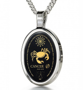 Zodiac Pendant Cancer Necklace Inscribed in 24k Gold on Onyx Stone, 46cm - NanoStyle Jewellery