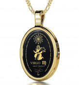 Zodiac Pendant Virgo Necklace Inscribed in 24k Gold on Onyx Stone, 46cm - NanoStyle Jewellery